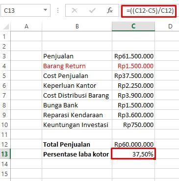 1. Perhitungan Persentase Laba Kotor Excel